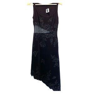 Tadashi Embroided Floral Black Dress Size M NWOT